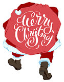 Santa Claus carries bag with gifts. Merry Christmas. Lettering text for greeting card