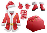Set of Christmas accessories Santa Claus. Fur coat, hat, boots, mittens, striped scarf and bag with gifts