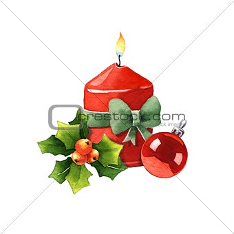 Candle with Christmas decoration