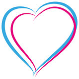 Blue and pink heart symbol of love. Heterosexual couple sign