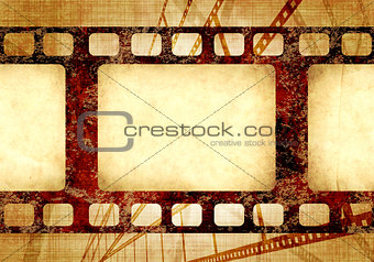 Grunge background with retro filmstrips and paper texture