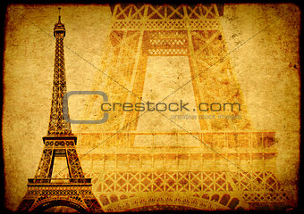 Grunge background with paper texture and landmark of Paris