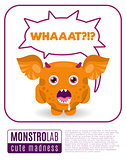 Illustration of a monster saying wat