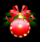 Christmas red ball and clock