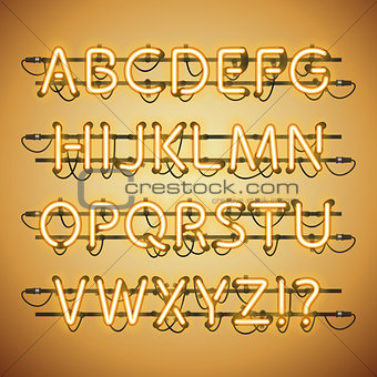 Glowing Neon Golden Alphabet