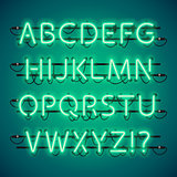 Glowing Neon Green Alphabet