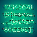 Glowing Neon Green Numbers