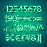 Glowing Neon Green Numbers