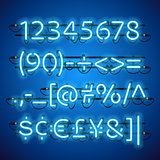 Glowing Neon Blue Numbers