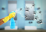 Housewife cleaning spray. 3D Rendering