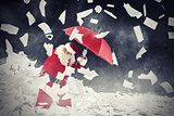 Santa claus vs requested letters gifts. 3D Rendering