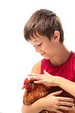 The boy with the hen
