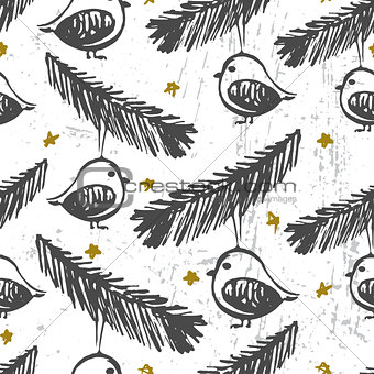 Christmas birds ornament Seamless pattern