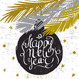 Happy new year ink hand drawn lettering