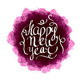 Watercolor splash design with ink hand drawn New year lettering