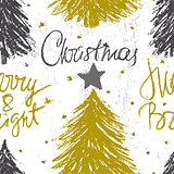 Merry Christmas ink hand drawn seamless pattern design with fir