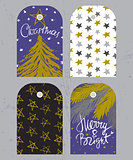 Christmas tags set with fir tree, festive lettering and star pat