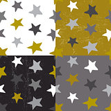 Ink hand drawn stars seamless pattern in different color variati