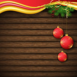 Christmas tree, and decorative elements on background of boards
