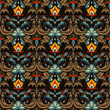 Gorgeous flower pattern vector image with small details ornament. Black background. Red, yellow, sea blue flowers with brown leafs for linens and home textile design. Dark blue, dark red  art work.