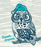 Graphic owl with night cap. Sweet dreams.