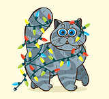 Funny domestic cat and garlands.