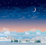 Night winter landscape with starry sky and moon.