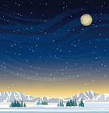 Night winter landscape.