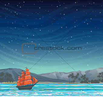 Old sailboat and island at night sky.