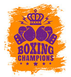 Two gloves and crown for boxing