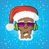 Disc Jockey Santa Claus In A Hat And A Headphone
