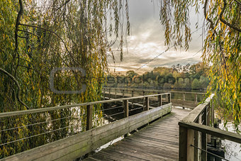 Footbridge on the Erdre river