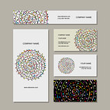 Business cards collection, floral mandala design