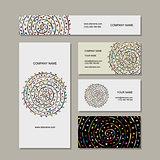 Business cards collection, floral mandala design