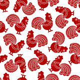 Seamless pattern with red cock, rooster - symbol of New Year 2017.