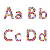 Alphabet with flowery letters A, B, C, D