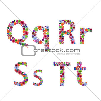 Alphabet with flowery letters Q, R, S, T
