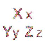 Alphabet with flowery letters X, Y, Z