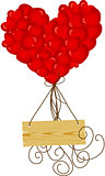 Wooden sign flying with heart balloons