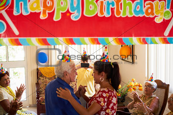 Old People Birthday Party With Friends In Geriatric Hospital