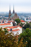 above view of Brno city with Cathedral