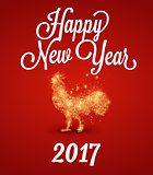 Fire rooster 2017. The symbol of the Chinese New Year . particle divergent composition, vector illustration