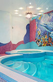 Luxury swimming pool with mosaic tile