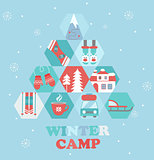 Christmas Holiday and Travel themed Camp poster.