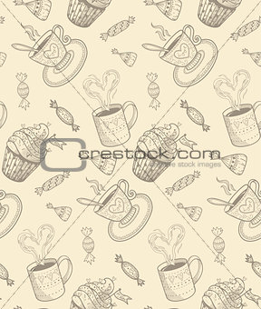 Sketch coffee cups and sweets.