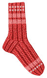 Red knitted Christmas stocking for gifts from Santa Claus