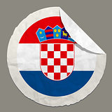 Croatia flag on a paper label