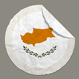 Cyprus flag on a paper label