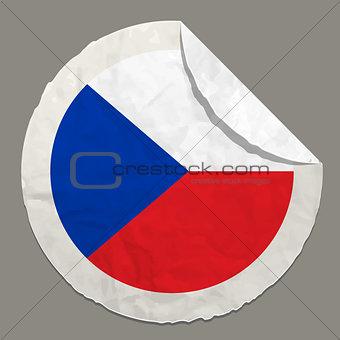 Czech Republic flag on a paper label