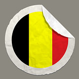 Belgium flag on a paper label